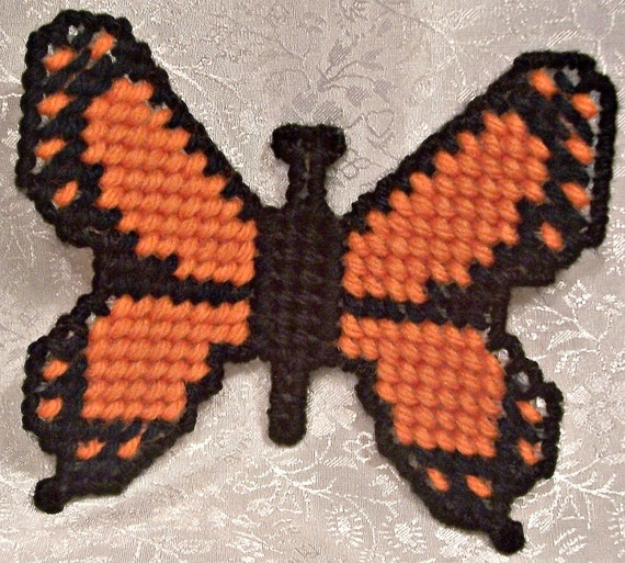 Refrigerator Magnet - Plastic Canvas Orange Butterfly