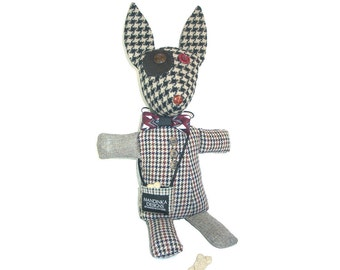 Ruby - The Mutts of Tweedville - stuffed animal dog made from upcycled suit coats