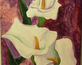Calla Lilies with Purple