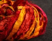 recycled silk ribbon - 95 gram - warm orange and red