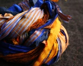 recycled silk ribbon - 35 grm - rich blue and gold