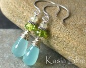 Inventory Clearance SAle Fresh Breath - Peruvian Chalcedony, Peridot and Prehnite Earrings in Sterling Silver
