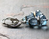Blue Waves- Icy Blue Quartz Blue Topaz Earrings in Sterling Silver  READY to SHIP