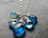 Blue Sky - Sky Blue Hydrothermal Quartz,  Chalcedony, Blue Topaz ,Apatite Necklace in Sterlling Silver  READY TO SHIP