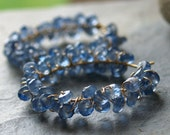 Cerulean - Gorgeous Blue Sapphire Wrapped Hoop Earrings in Gold