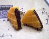 Chocolate Pie Plastic Stud Earrings