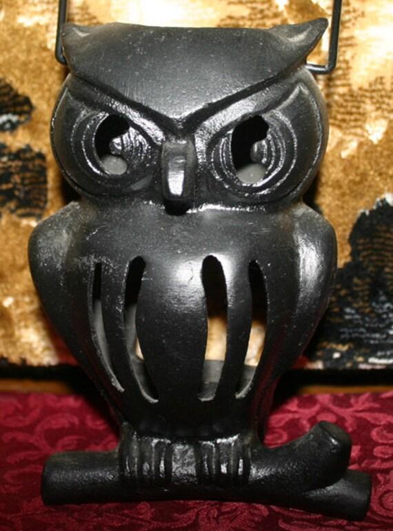 Vintage Gothic Wiccan Black Iron Owl Candle Holder Lantern