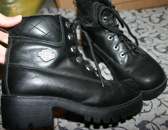 Vintage Harley Davidson Ladies Black Leather Boots 7