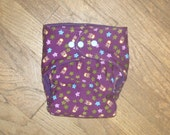 Purple Owls Cloth Diaper- one size fits most