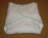 Bamboo Terry Contour Diaper-  Large fits 15-30 lbs-  Mint green stitching
