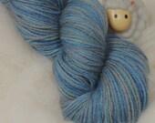 SALE - Superwash Merino Sock Yarn  - Hand Dyed in Plasma Dip Blues by Rocket Yarn
