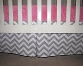 2 Gray & White Chevron Crib Skirt w/ Pleat Reserved for Katie