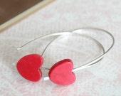 my name is Love skewered red hearts earrings