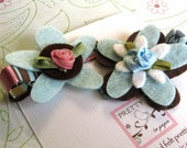 Felt Flower Hair Clip -Blue, Pink and Brown