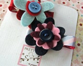 Felt Flower Hair Clip - Purples, Blues and Reds