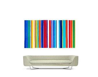 Big Fun Striped Modern Acrylic Painting