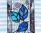 Original Art - Leaves on Scrapbook Paper(hand-carved block) - blue