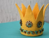 Mini Felt Crown - gold with bronze and turquoise sequins (no.3 in series)