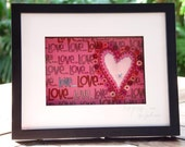 Love you more - framed textile art
