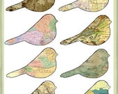 Birds of the world maps printable PDF epattern Scrapbook Decoupage Instant download SSODS