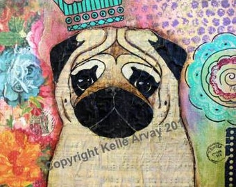 Pug Print Royal Song Shabby Cottage Chic Vibrant Colors 8 x 10 Somerset Gilcee