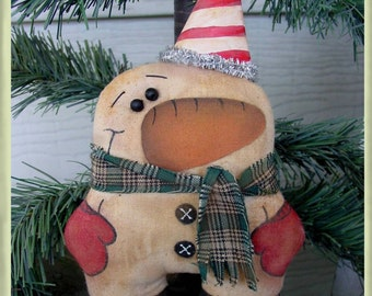 Chubby Primitive Little Snowman Ornament Epattern Adorable and Easy T2T SSODS
