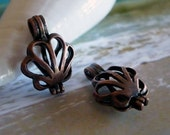 SHELL FLOWER Copper Lockets- 2pc- Fill with Seaglass or Beads