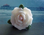 PORCELAIN FLOWER BEADS  - White - 4 pieces