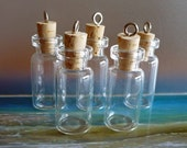 GLASS VIALS  5pc  With Cork and Eye Hook