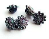 Sale - Vintage Irridescent Black Flower Buttons