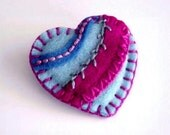 Patchwork Felt Heart Pin in Blue and Magenta No. 1
