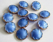 Set of 12 Vintage Blue Glass Buttons with Gold Trim