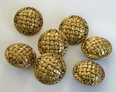 Set of Matching Large Vintage Metal Buttons - Domed Basket Weave