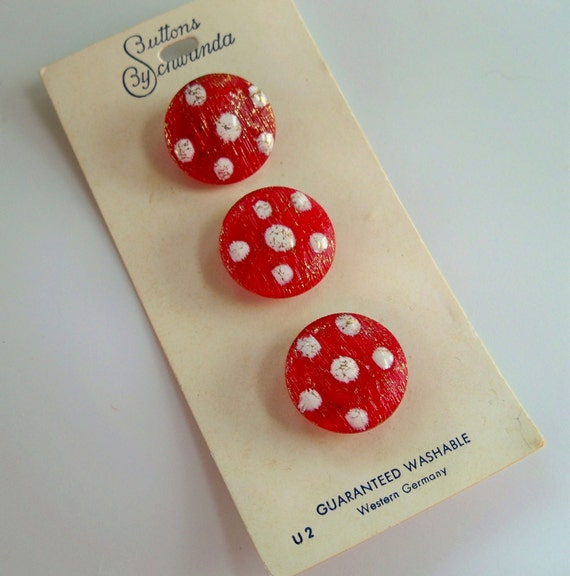 Vintage Red and White Glass Buttons on Original Card - Schwanda