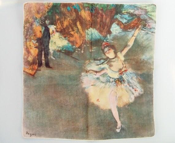Unusual Vintage Handkerchief - Print of Degas Ballerina Star on Stage