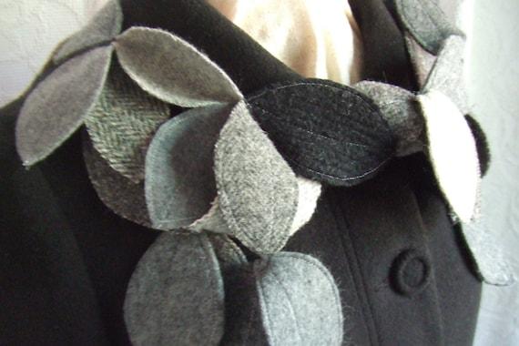 Leafy Garland skinny scarf Upcycled Wools Tweeds