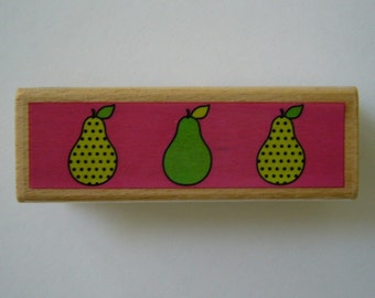 Trio of Pears Stamp - Wood Mounted Rubber Stamp - Fruit Stamp