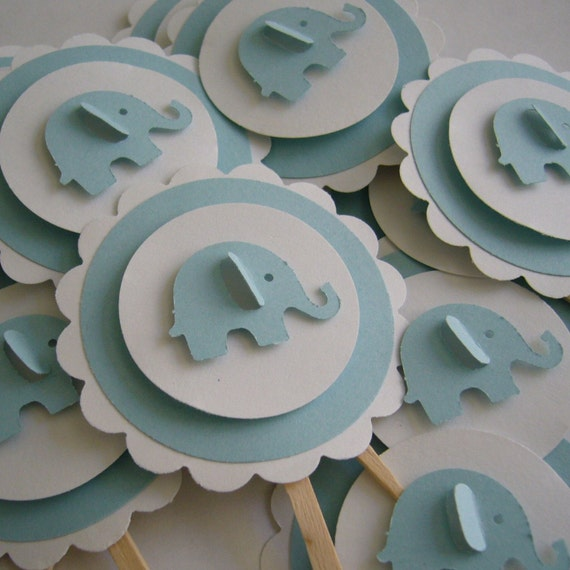 baby boy cake toppers items similar to elephant cupcake toppers blue and white 1416