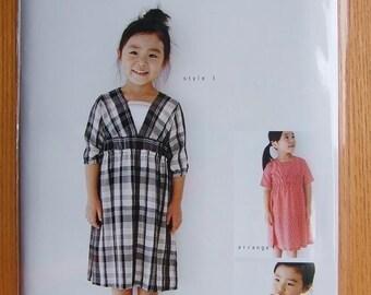 Out of Print M102 KIDS V NECK Shirring Dress - Japanese M Pattern