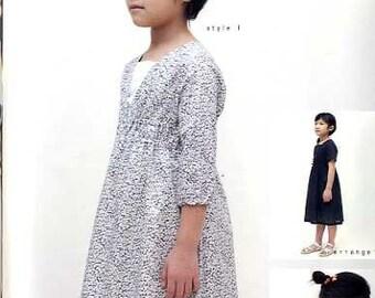M140 KIDS V Neck Shirring Dress from M Pattern - Japanese M Pattern