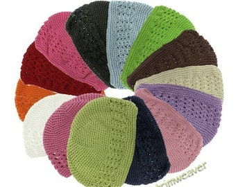 CLEARANCE - 3 pieces Crochet Kufi Hats for Infant/Toddler (Stretchy) - Pick your own color