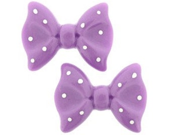 20 pieces - Ribbon Bow Resin Flatback in Lilac