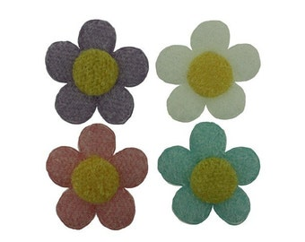 24 pieces - Padded Fuzzy Large Flower Daisy Appliques - Trim - Embellishments (4 Colors)  - Spring Easter Colors
