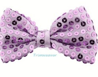"""10 pieces - 3.5"""" Premade Sequin Bow in Purple - Great deal - Twenty Cents a bow"""