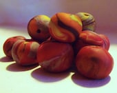 Fall Leaves Beads - Polymer Clay - Kid-Made - Red Brown Yellow Orange