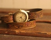 Leather Wrap Watch - Mauve, Gold, antique brown - Ginger Pattern with cherry blossoms