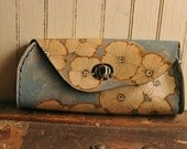 Leather Clutch Purse  -  Silver and blue - Poppy Garden pattern with flowers