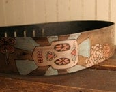 Leather Guitar Strap - Byzantine Pattern in Sage, Silver, Pink and Antique Black