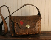 Leather Purse or Handbag - Red and Antique Brown - Nice Pattern with Heart and Wood Grain