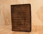 Leather Passport Case - Antique Black - Personalized Smokey Pattern